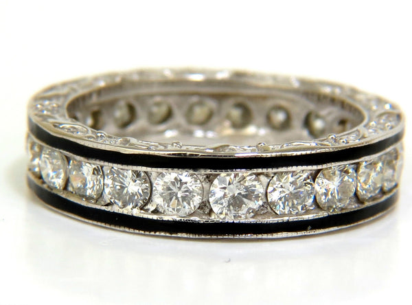 2.26CT DIAMONDS ETERNITY BAND 14KT & BLACK ENAMEL 14KT SIZE 8