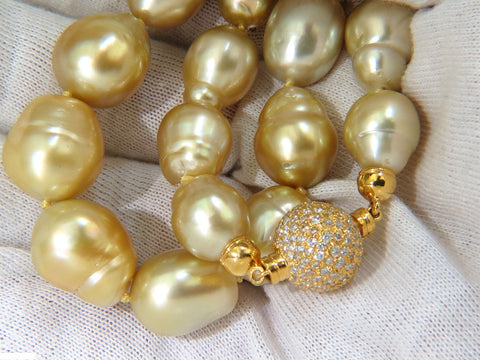 18KT 14.5M NATURAL SOUTH SEA YELLOW PEARLS NECKLACE 2.00CT DIAMOND CLASP