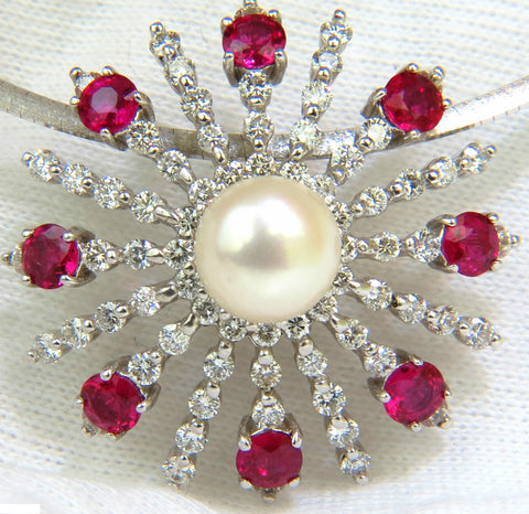 5.75CT NATURAL GEM RUBY DIAMOND 3D STAR BURST PEARL PENDANT + OMEGA