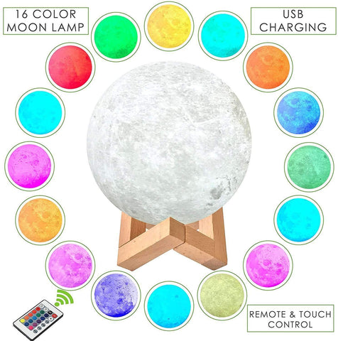 GearSupermart:16 Colors Rechargeable LED Moon Lamp:[variant-title]