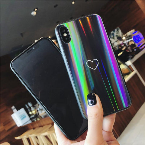 GearSupermart:Rainbow Heart Tempered Glass Iphone Case