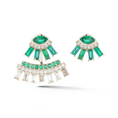 18K Special White Gold Ear Jacket with Emeralds
