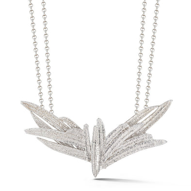 Silver Textured Eagle Necklace