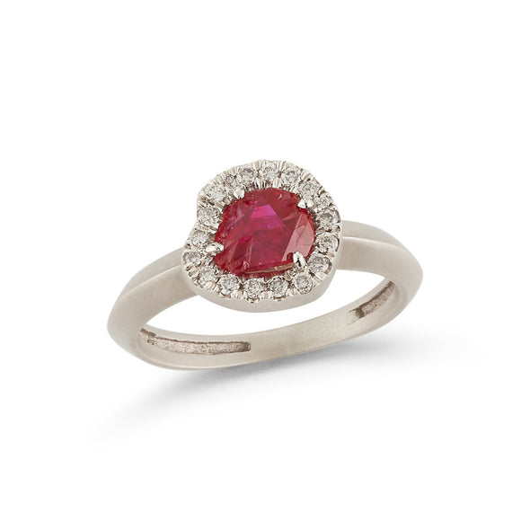 18K Special White Gold Ring with Raw Ruby and Champagne Diamonds