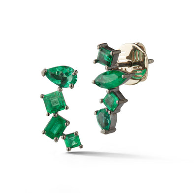 18K White Gold Earrings with Assymetric Emeralds