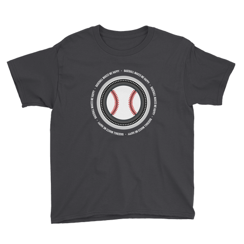Baseball Makes Me Happy Youth T-Shirt (South Side colors)