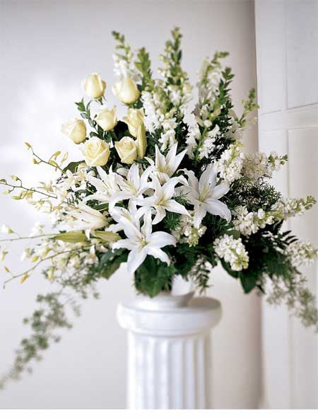 Beautiful White Memorial Design 2-1-1 Large