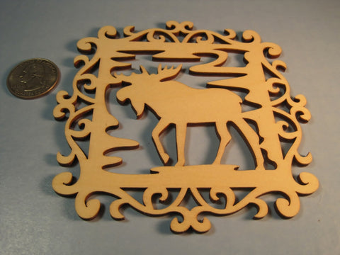 Wood Moose Carved Cut-Outs