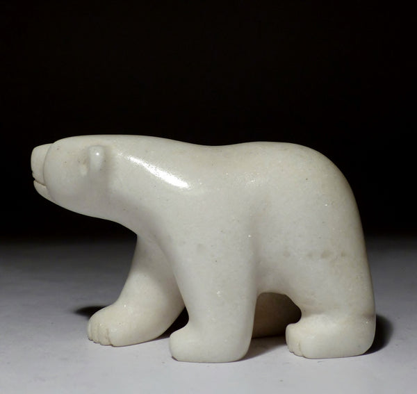 "4"" White Walking Bear by Adamie Mathewsie"