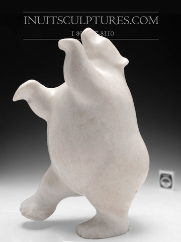 "14"" Chubby White Marble Dancing Bear by Nuna Parr"