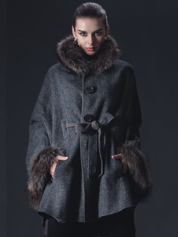 Cashmere Cape-Coat with Raccoon Collar