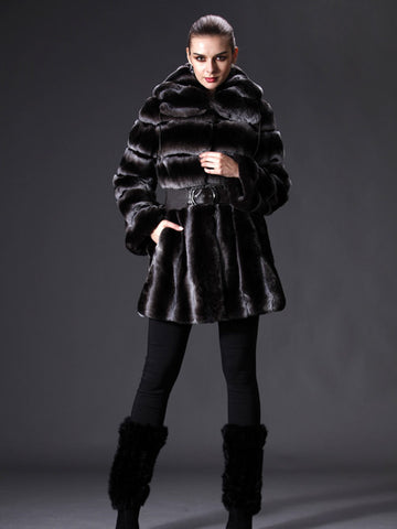 Pink Mink Full Skin Rex Coat with Hood