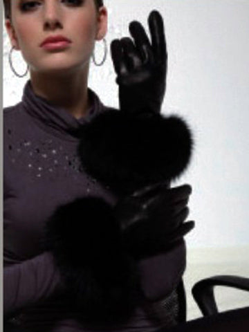 Lambskin Leather Gloves with FoxTrim