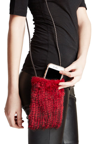 Knitted Mink Cellphone Case with Leather Strip