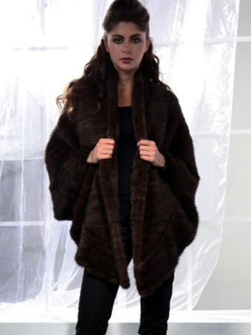 Pink Mink Knitted Mink Cape