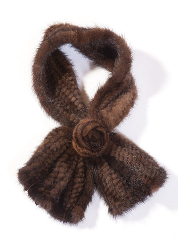 Knitted Mink Scarf with Pull-Thru Rosette