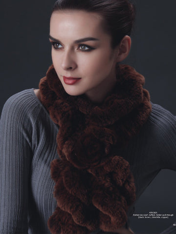 Pink Mink Knitted Rex Ruffled Scarf- Brown