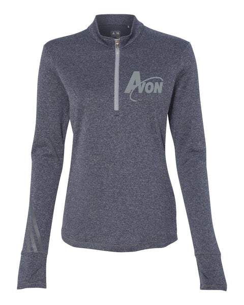 Avon Band adidas Navy Heather/ Medium Grey Golf Women's Brushed Terry Heather Quarter-Zip Jacket EMB - L&M Spirit Gear