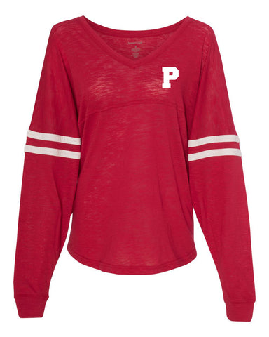 Plainfield MS Girls Soccer Slub VarsiTee V-Neck Jersey - L&M Spirit Gear