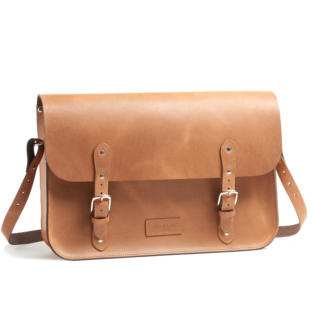 Tan Brown Leather Pannier made for the Brompton Bike