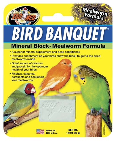 Zoo Med Bird Banquet Mineral Block - Mealworm Formula - Small