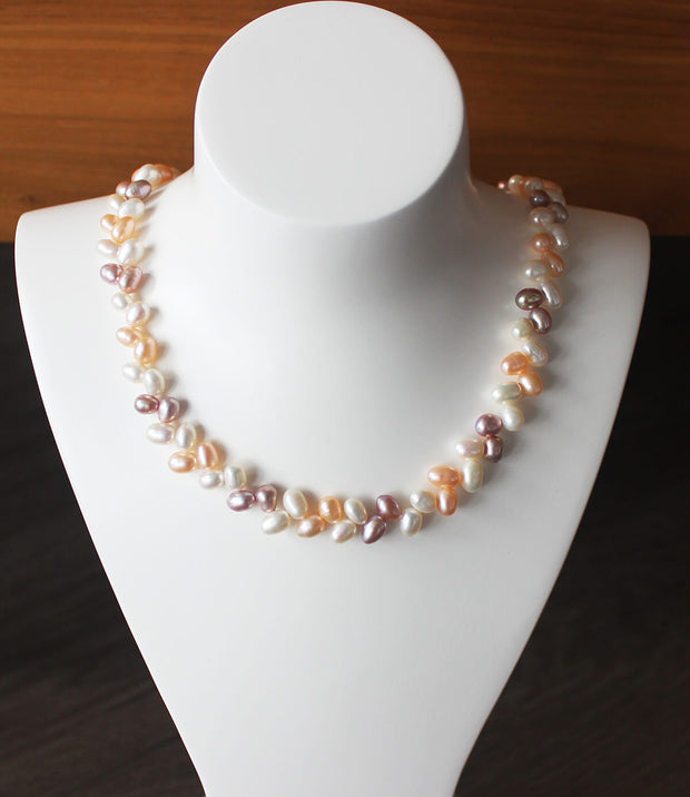 Leaf Multi-coloured Pearl Necklace_4