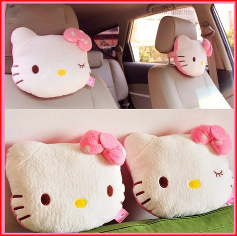 2Pcs Pink Kitten Car Headrest Cushions Girly Touch Car Seat Covers New Car Gadgets