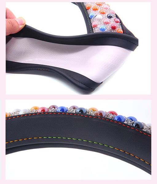 Summer Luxury Car Steering Wheel Cover Cool Beading Massage Therapy Car Steering Wheel Covers New Car Gadgets