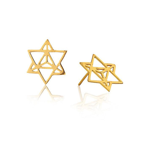 Star Tetrahedron Earrings in 18k Gold