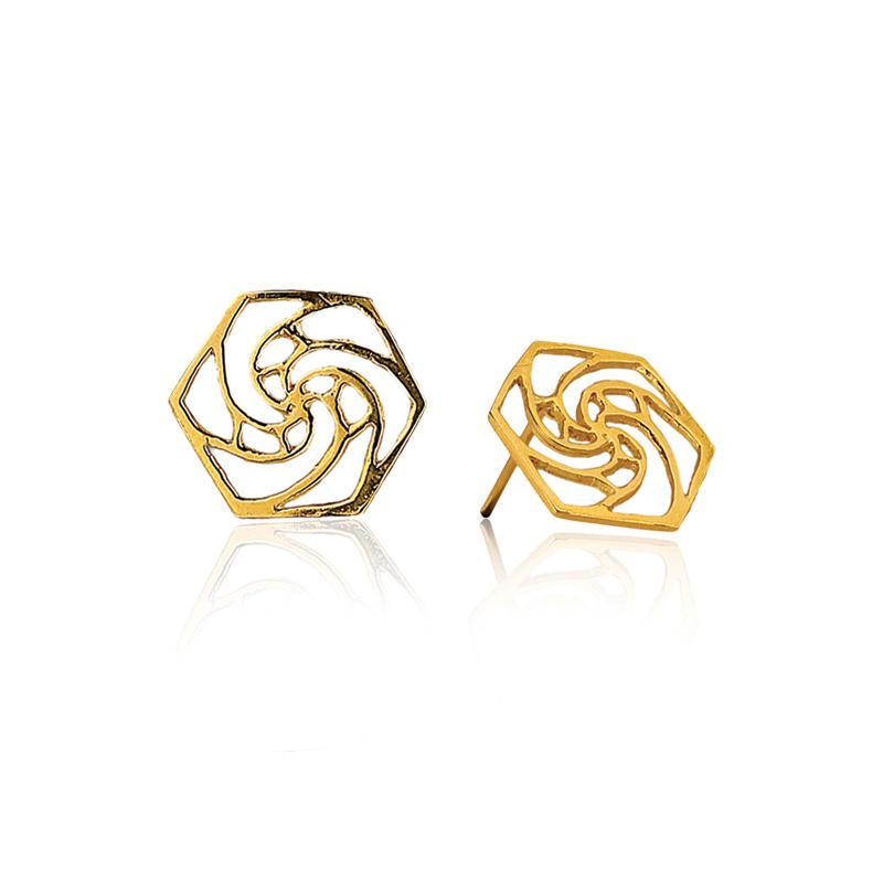 Rose Fractal Earrings in 18k Gold