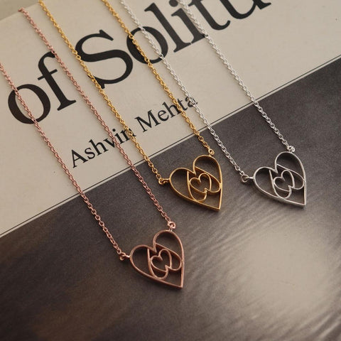 Equilateral Heart Necklace - 18K Gold or 18K Rose Gold