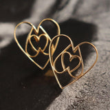 Equilateral Heart Earrings - 18K Gold or 18K Rose Gold