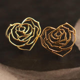 My Heart Rose Earrings - 18K Gold or 18K Rose Gold