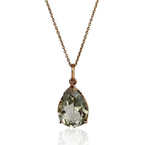 Heal Pendant - Green Amethyst in 18K Rose Gold