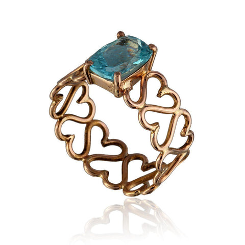 Unconditional Love & Courage Ring - Apatite in 18K Rose Gold