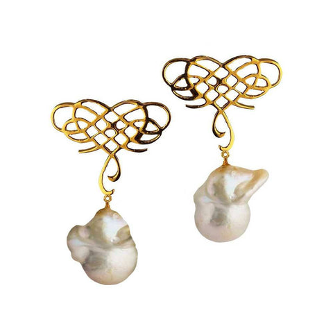 Infinite Love Earrings with Baroque Pearl