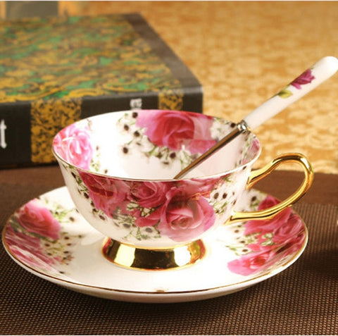 Creative Gift Luxurious Ceramic Set Of Tea Cup And Saucers - England Rose