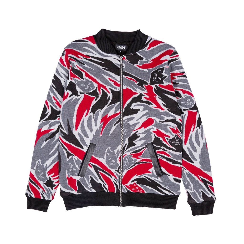 Tiger Nerm Knit Zip Up Sweater (Red Camo)