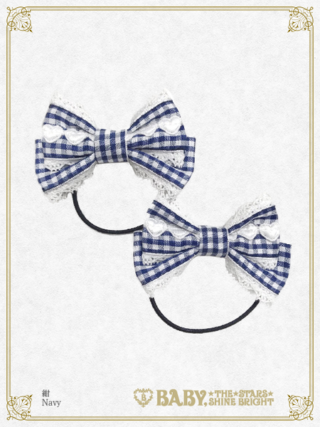 B43HA929 Gingham Check Ribbon Hair Bands