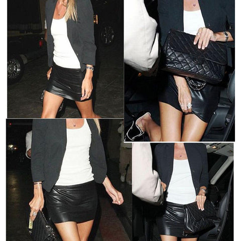 Black PU Leather Shiny Wet Look Mini Skirt