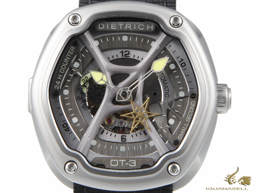 Dietrich OT-3 Automatic Watch, Grey & Yellow, 46mm, Nylon strap, ED15 OTC-A03