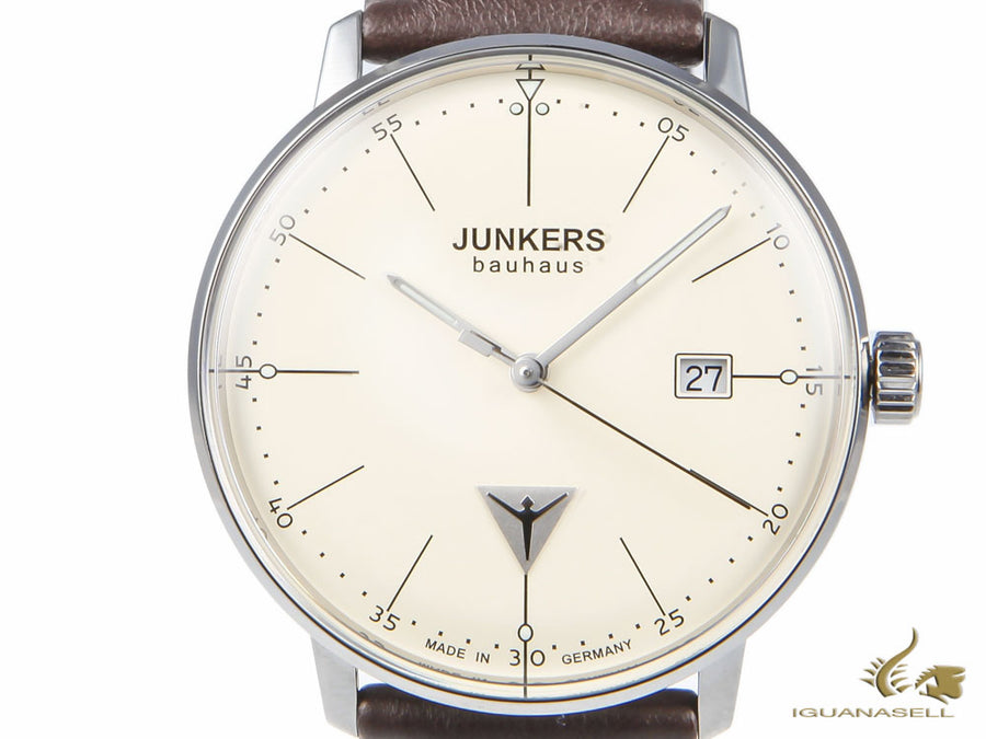 Junkers Bauhaus Quartz Watch, Stainless Steel, Beige, 40 mm, Day, Leather strap