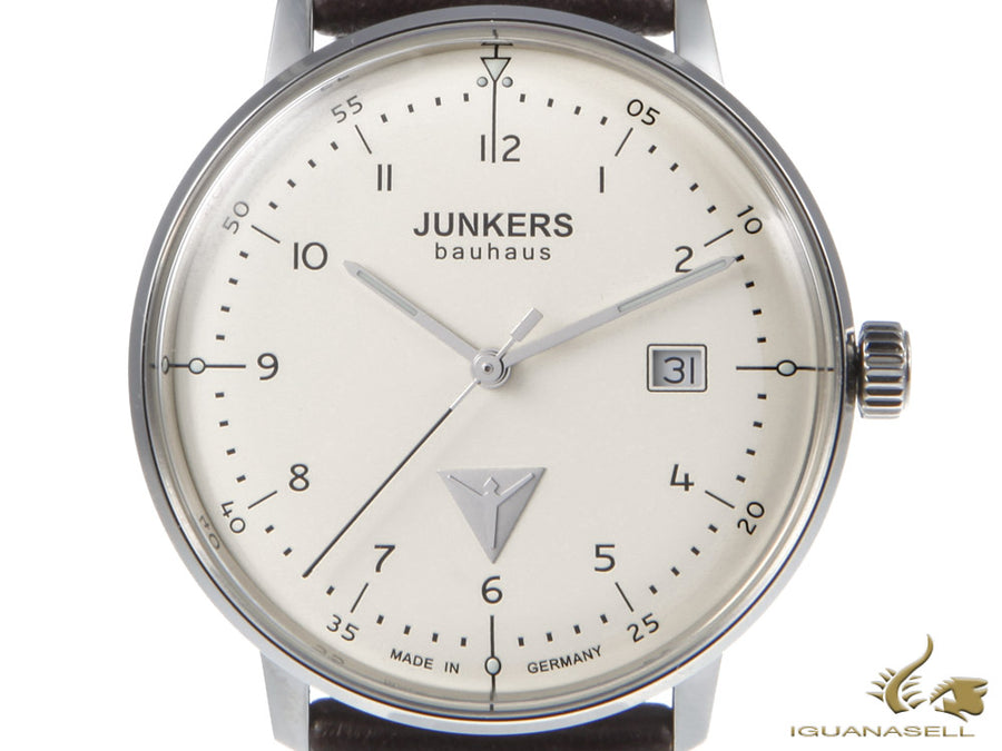 Junkers Bauhaus Quartz Watch, Stainless Steel, Beige, 40 mm, Leather strap