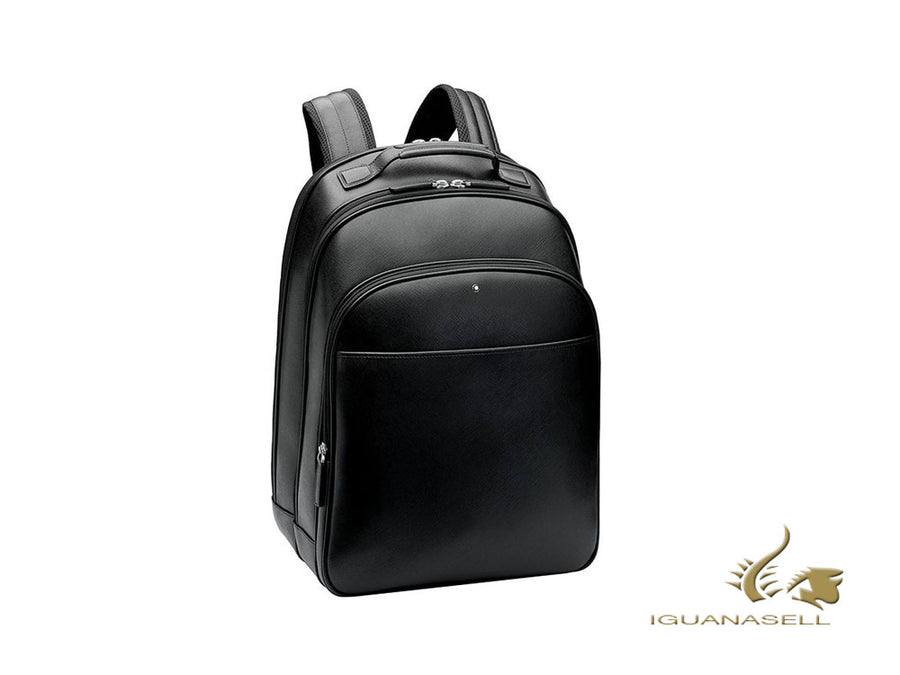 Montblanc Sartorial Backpack, Leather, Jacquard, Black, Zip, 114586