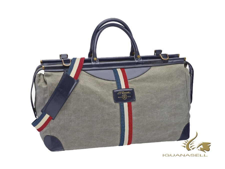 S.T. Dupont Iconic Sac de voyage, Cotton, Leather, Grey, Zip, 191310