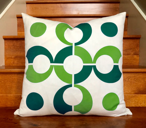 "Pop Dots 20"" Linen Square Throw Pillow - Green"