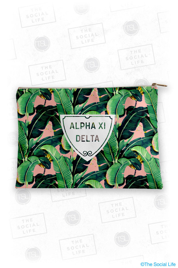 Alpha Xi Delta Tropical Leaf Cosmetic Bag