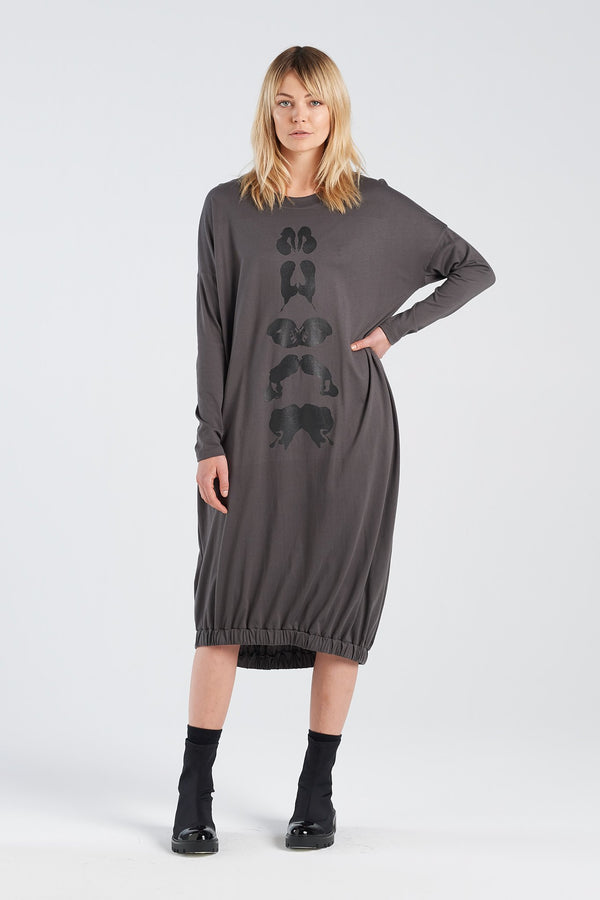 BINET DRESS KLEX | CHARCOAL KNIT - NYNE - NZ Made Women's Clothing