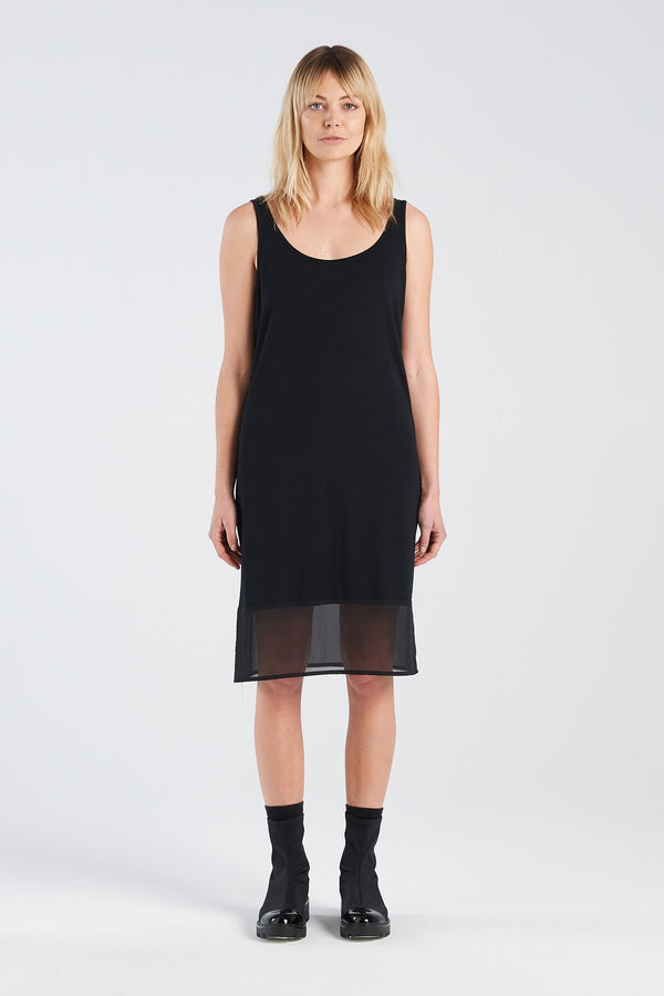 BLOCK DRESS | BLACK MERINO - NYNE - NZ Made Women's Clothing