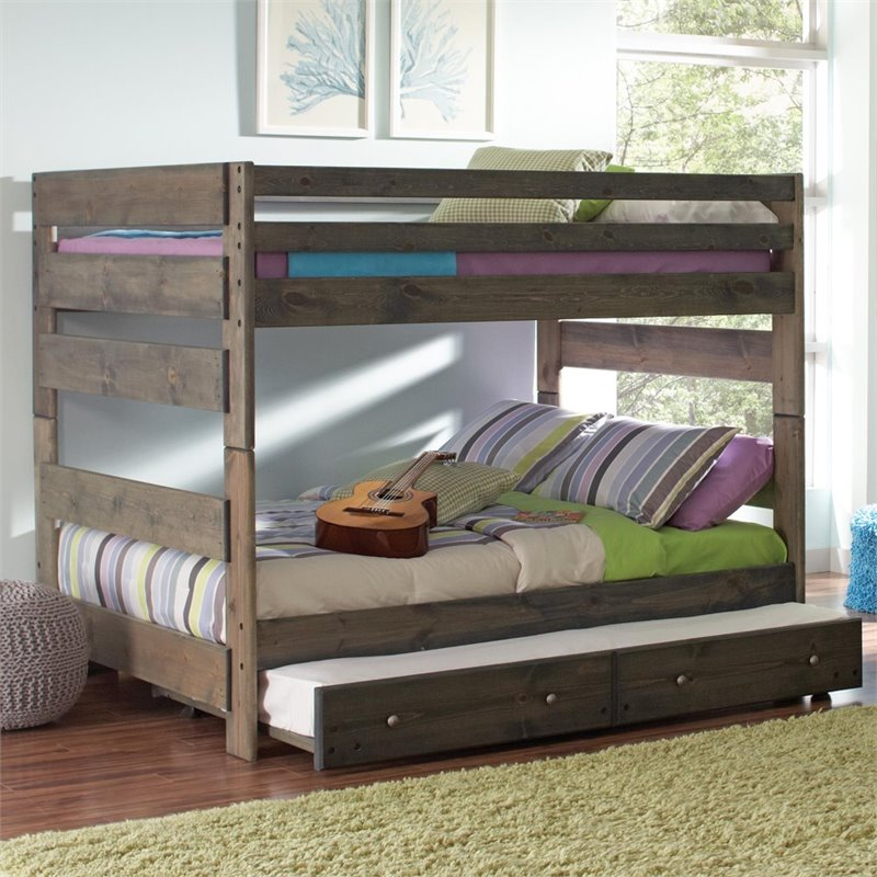 Coaster Wrangle Hill Youth Full over Full Bunk Bed in Gun Smoke - Bunk Bed Central